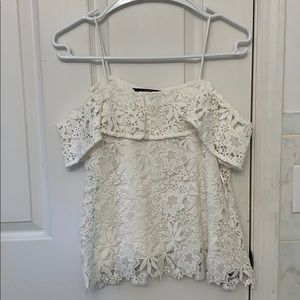 Zara white lace off the shoulder top size S